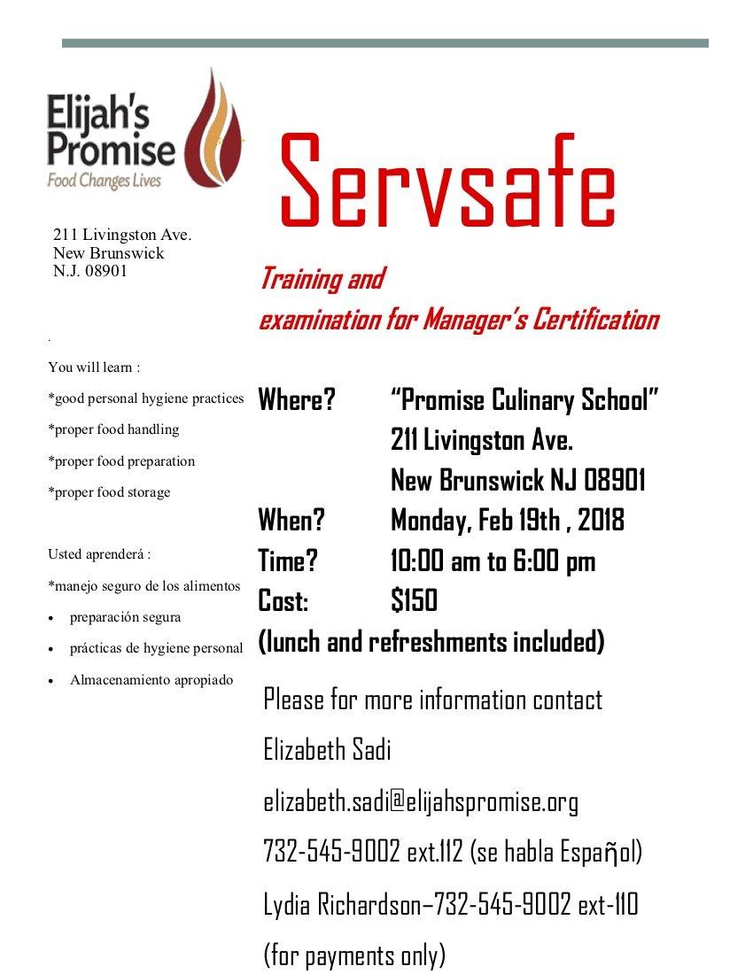 ServSafe Training - Elijah\'s Promise