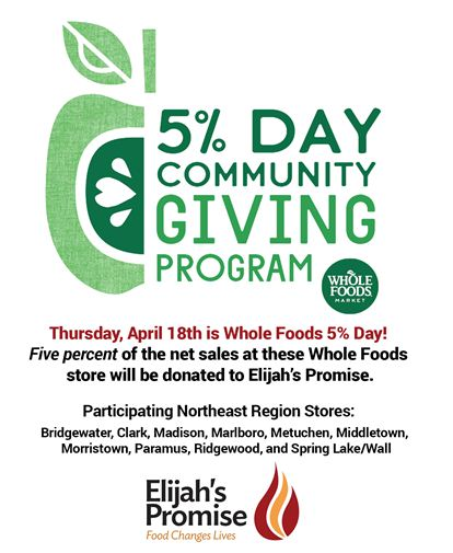 Whole Foods Sets April 18th to Help Hunger Relief - Elijah's Promise