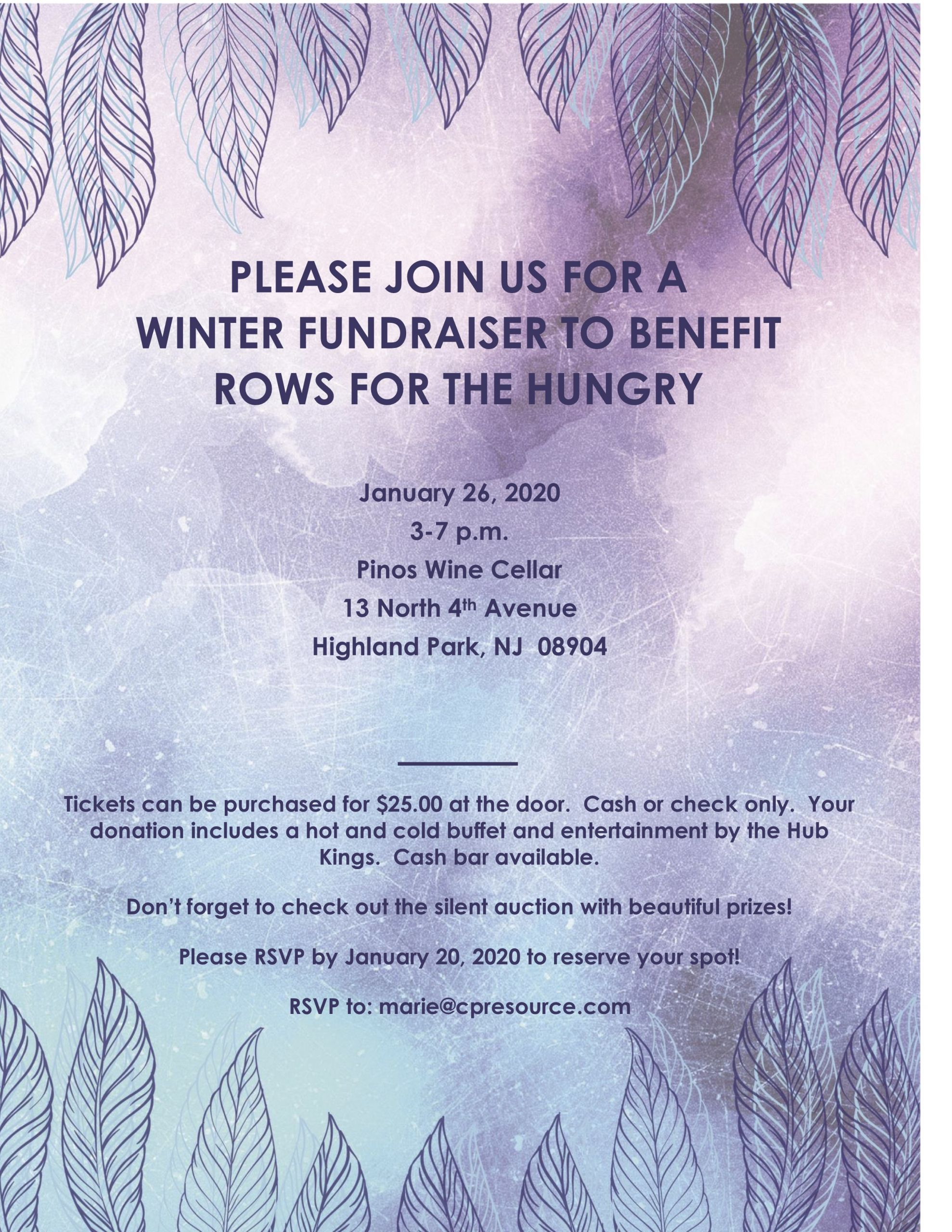 Fundraiser for Rows for the Hungry at Pino's on January 26th from 3-7 pm